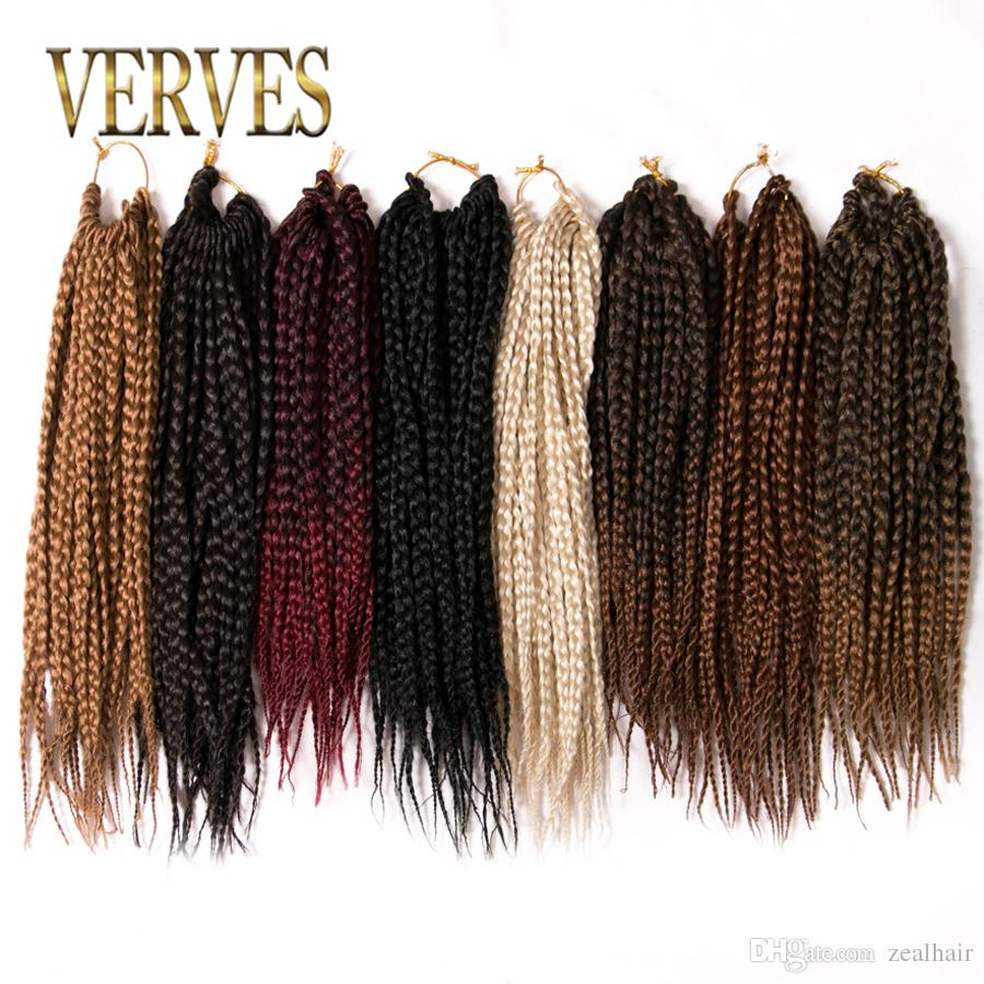 Verves Box Braids Hair Synthetic 14 Inch Crochet Hair Extensions 22