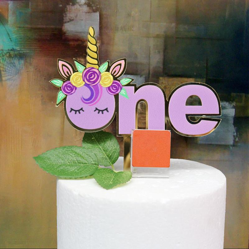 2019 Unicorn ONE Cake Topper Baby Kids 1ST Birthday Party Decoration Cupcake Shower Supplies Baking Decor From Tengdinggarden 1373