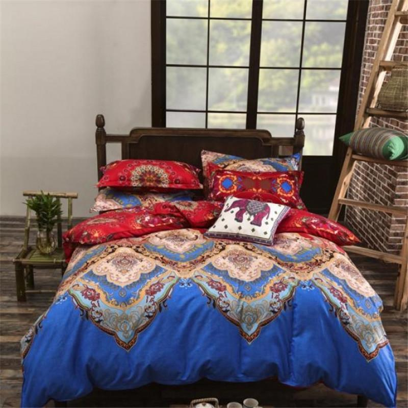 Lndia Bohemian Style quilts and Bedding Sets mandala Floral Printed Bed Linens set Queen Size Duvet Cover Flat Sheet case Stripe