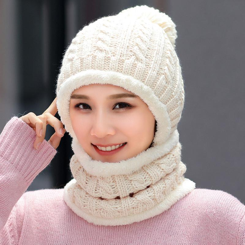 f3d511de2 HT2079 Thick Warm Winter Hat Scarf Set Women Solid Knitted Hat Ladies Ski  Beanies Scarf Windproof Riding Beanie with