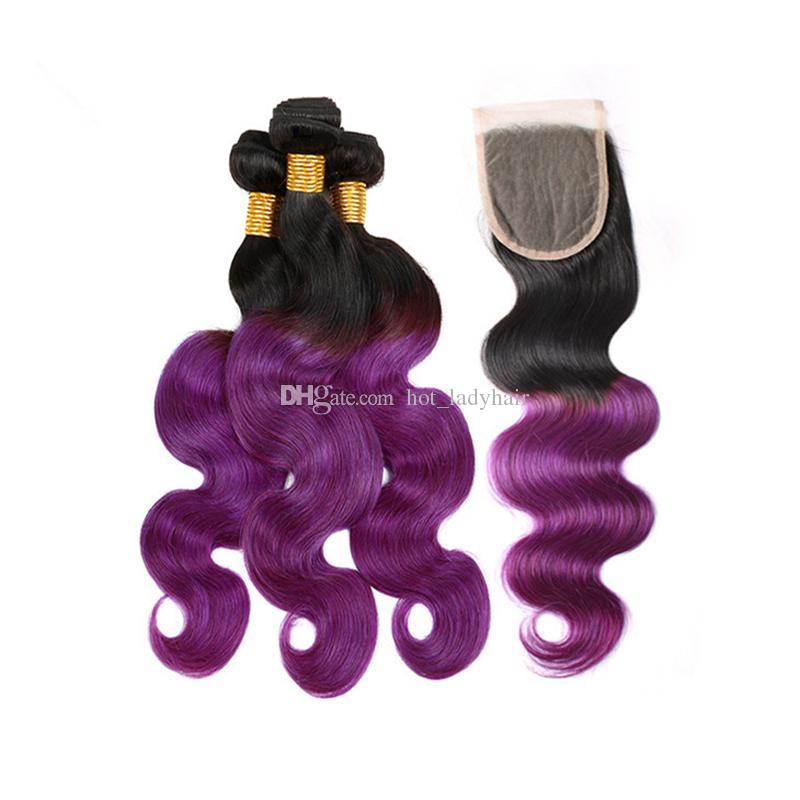 İki Ton 1B Mor Ombre Brezilyalı Saç Demetleri ile Dantel Kapatma Vücut Dalga Mor Ombre İnsan Saç Örgüleri ile Üst Kapatma
