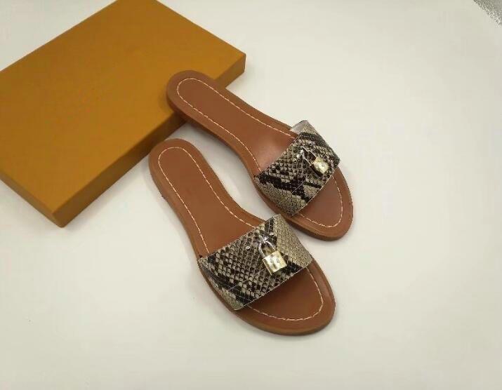 e3ce5fd0c2c6 2018 Womens Designer Gold Lock Sandals Causal Summer Slippers Loafers Flats  Leather Luxury Brand Leather Snake Skin Slides Designer Sandals Ladies  Slippers ...