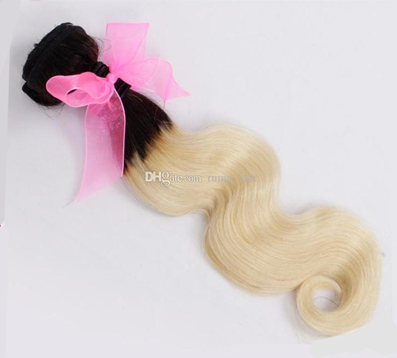 T 1B 613 Blonde Ombre Haar Mit Clousre Körperwelle Peruanische Reine Haarsträhnen Mit Spitze Schließung Blonde Menschenhaar spinnt