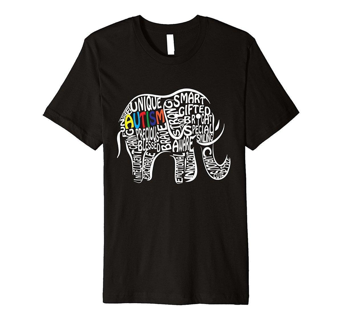 b805406ccb84 PREMIUM Autism Awareness Elephant T Shirt Streetwear Funny Print Clothing  Hip Tope Mans T Shirt Tops Tees Funny O Neck T Shirt Ts Shirts A Team Shirts  From ...