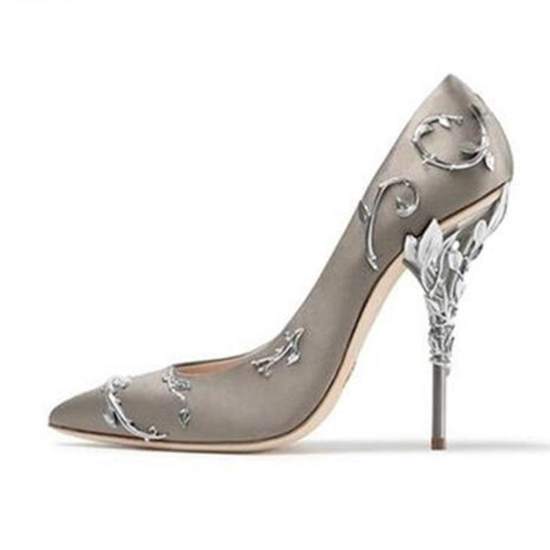b03440a8081f1b Woman Metal Leaf Decor Satin Silk Pumps Fashion Pointed Toe Metallic Twing  Covered High Heels Pumps Spring Elegant Dress Shoes Cute Shoes Green Shoes  From ...