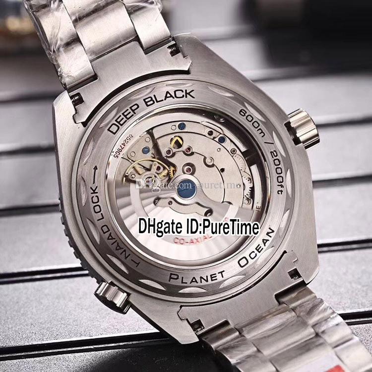 Nuevo Planet Ocean Co-Axial 600M 215.30.44.21.01.001 Caja de acero Dial negro Cal.8900 A2813 Reloj automático para hombre Relojes de acero inoxidable OMG38b2
