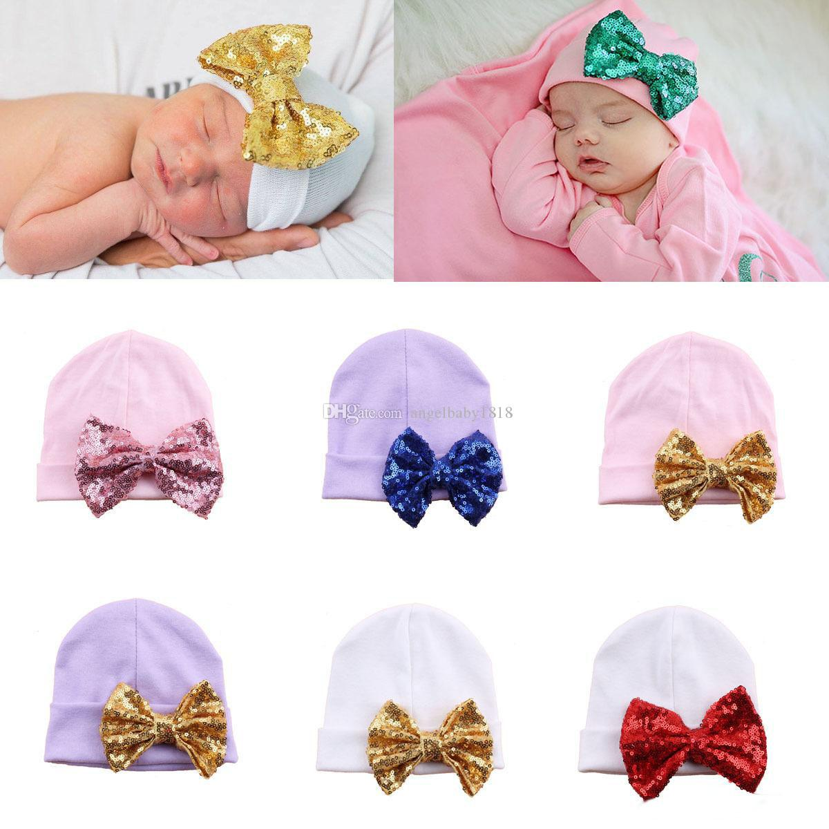 Maternity supplies Hat for newborn Baby Beanie Cute Sequins bow knit hat 2018 Spring Autumn Cotton 0-3months