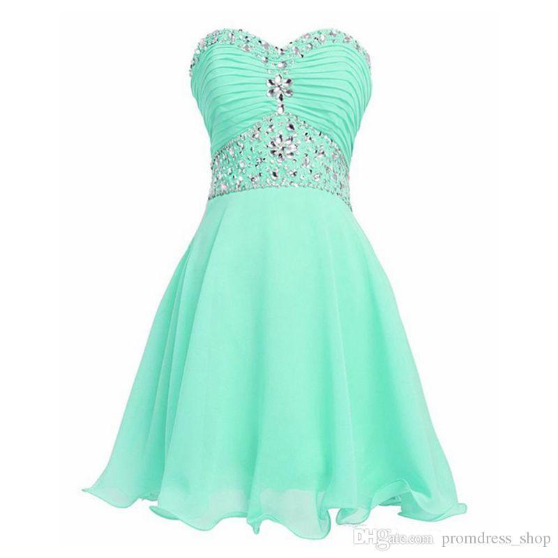 Envío gratis vestido verde menta vestido corto de graduación de cristal 2019 nuevo vestido de cóctel Vestido de Formatura Curto vestido de fiesta barato
