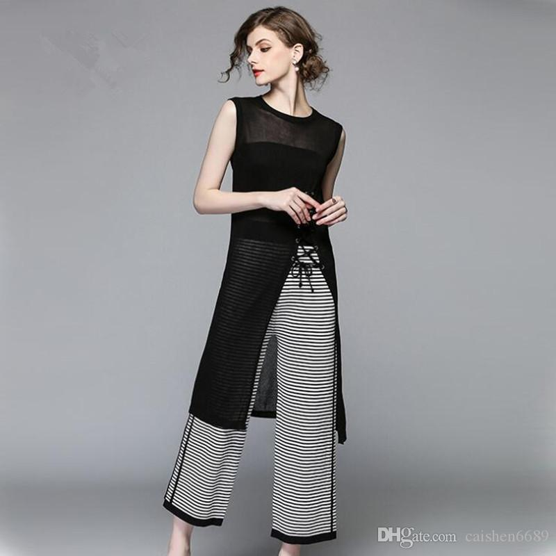 a459bdaf7d959 2019 Summer Fashion Suits Women Clothing 2018 New O Neck Vest Black  Tops+Stripe Wide Leg Pants Suit Women Casual Set High Quality From  Caishen6689