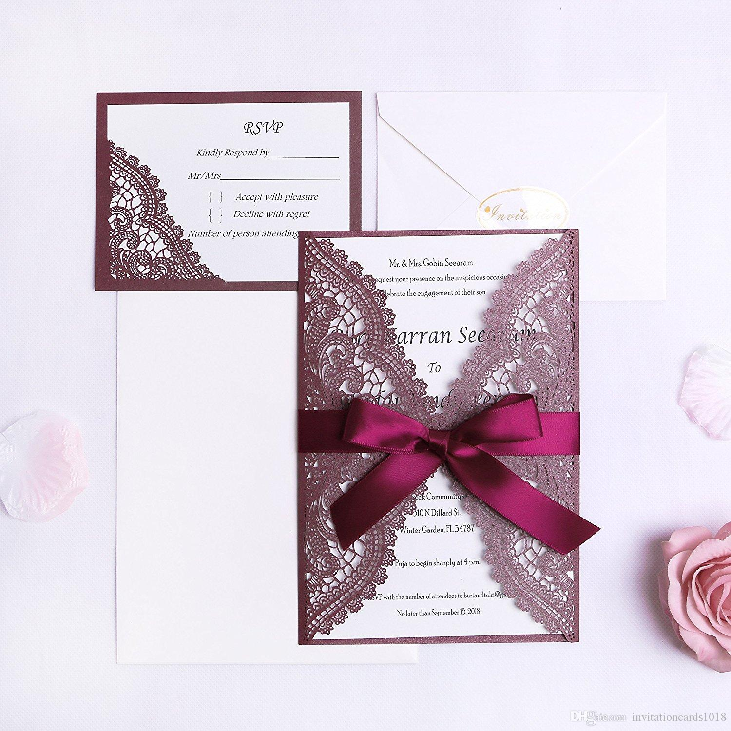 new burgundy laser cut wedding invitation cards kits with ribbons