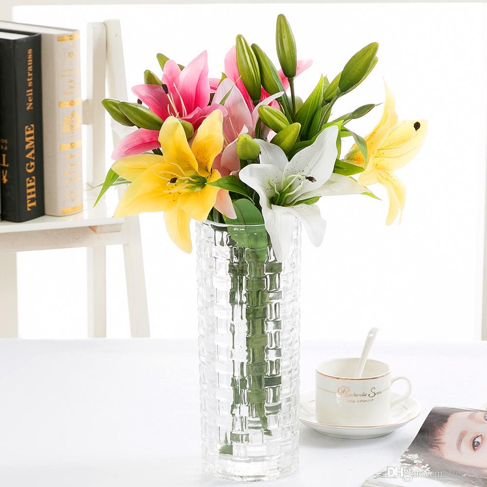 2018 3 Heads Multicolor Artificial Lily Flower Bouquet Fake Flowers