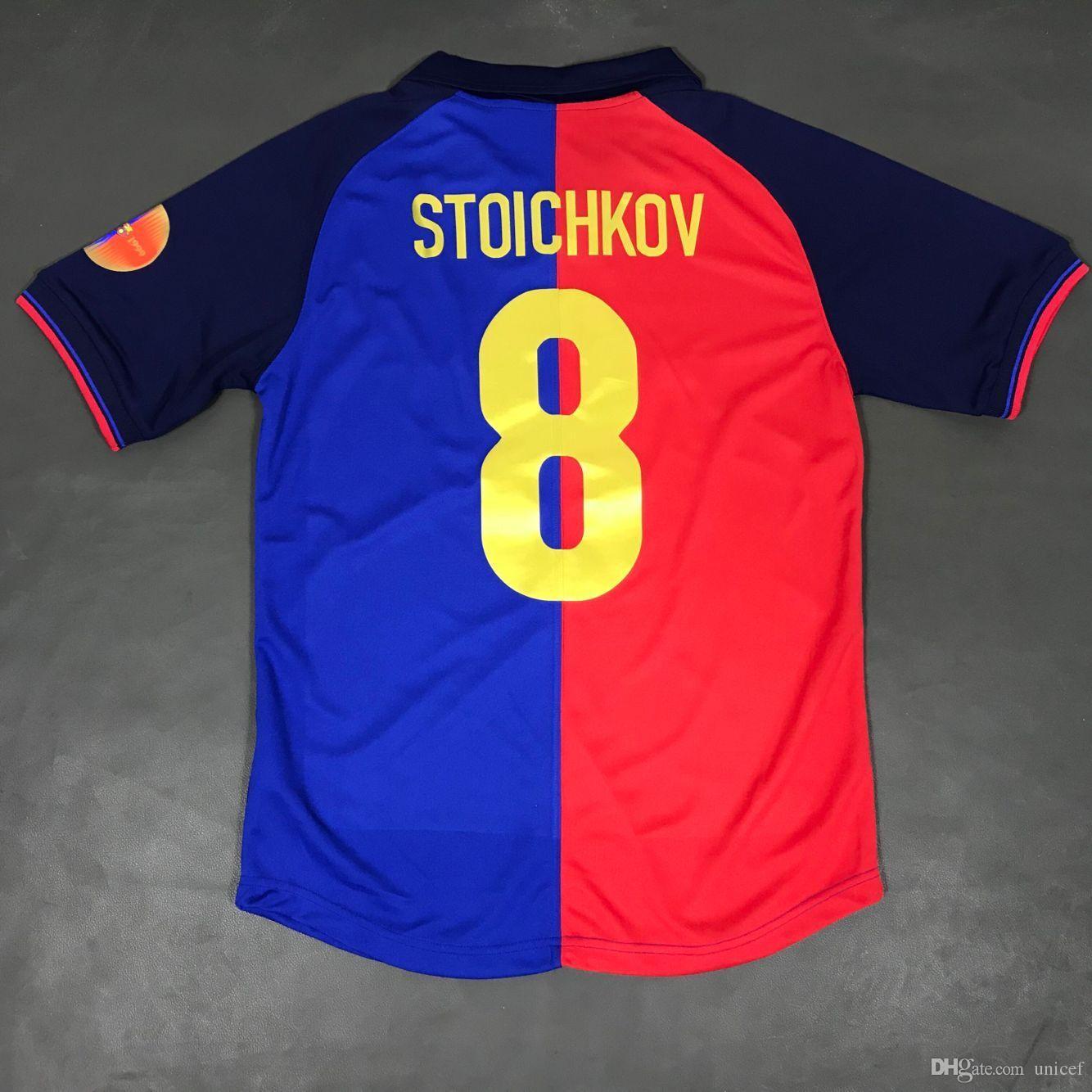 8d06d8afa89 2019 Hristo Stoichkov Red And Blue 1998 1999 Retro Soccer Jerseys 100 Years  Anniversary Edition Football Shirts Camiseta De Fútbol Maillot Maglia From  ...