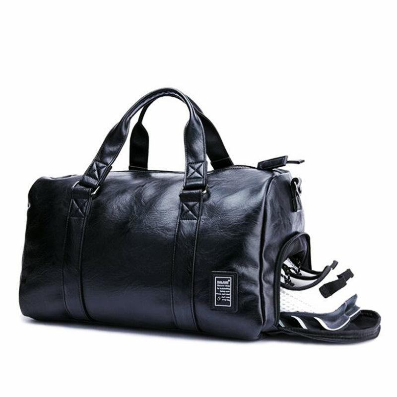 dd165c35914 2019 Black Gym Bag Men Leather Duffle Bag Women Independent Shoe Storehouse  Sport Crossbody PU Travel Bags Hand Luggage For Gym From Ekuanfeng, ...