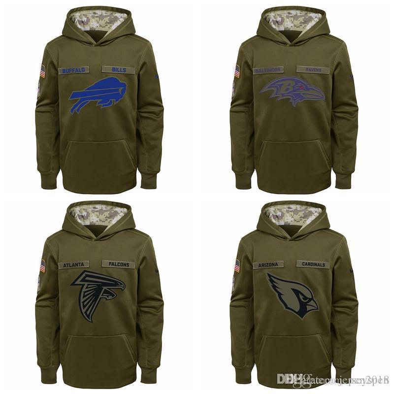 f1682c38 Kid Buffalo Bills Baltimore Ravens Atlanta Falcons Ariona Cadinals Youth  Salute to Service Pullover Performance Hoodie - Green
