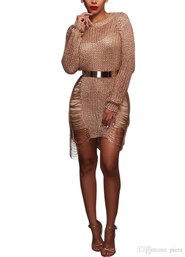 2019 Sexy Sundress Women Long Sleeve Dress Sheer Knit Bodycon Mini