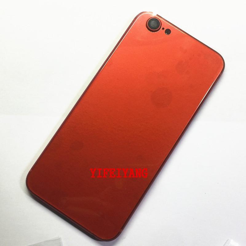 100% Bir kalite Arka Kapak Konut iphone 6 Gibi 8 Alüminyum Metal Arka Pil Kapı Kapak tarzı Yan Düğmesi ile 8 Sim Kart Tepsi