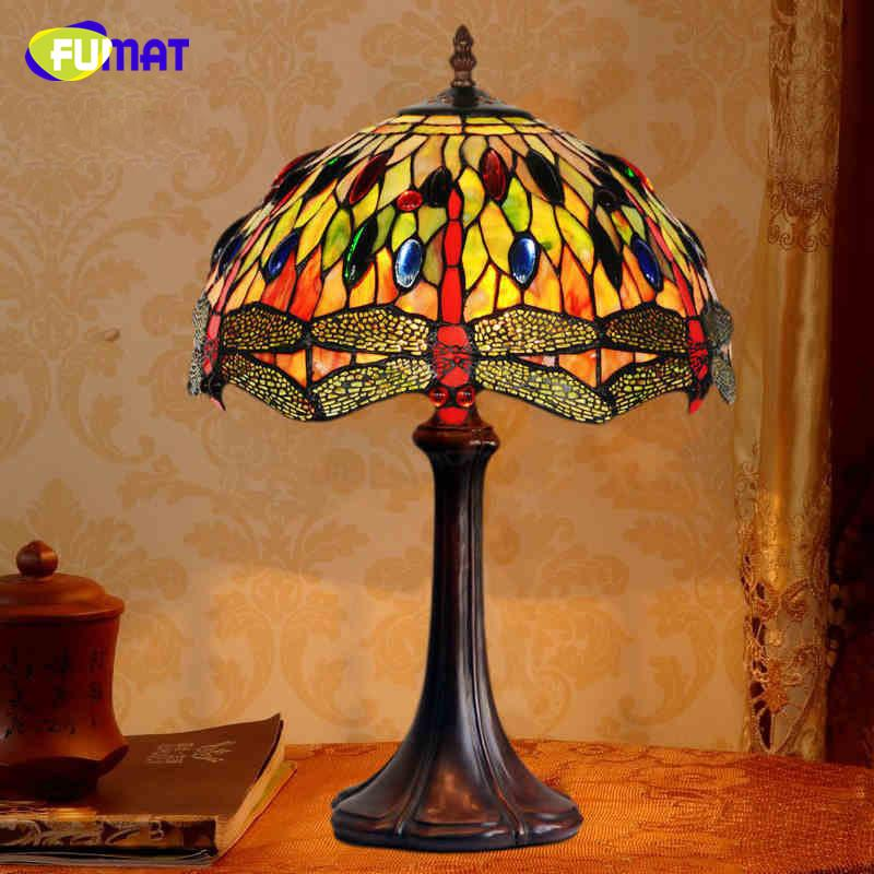 2019 Fumat Art Table Lamp High Quality Creative Dragonfly Stained