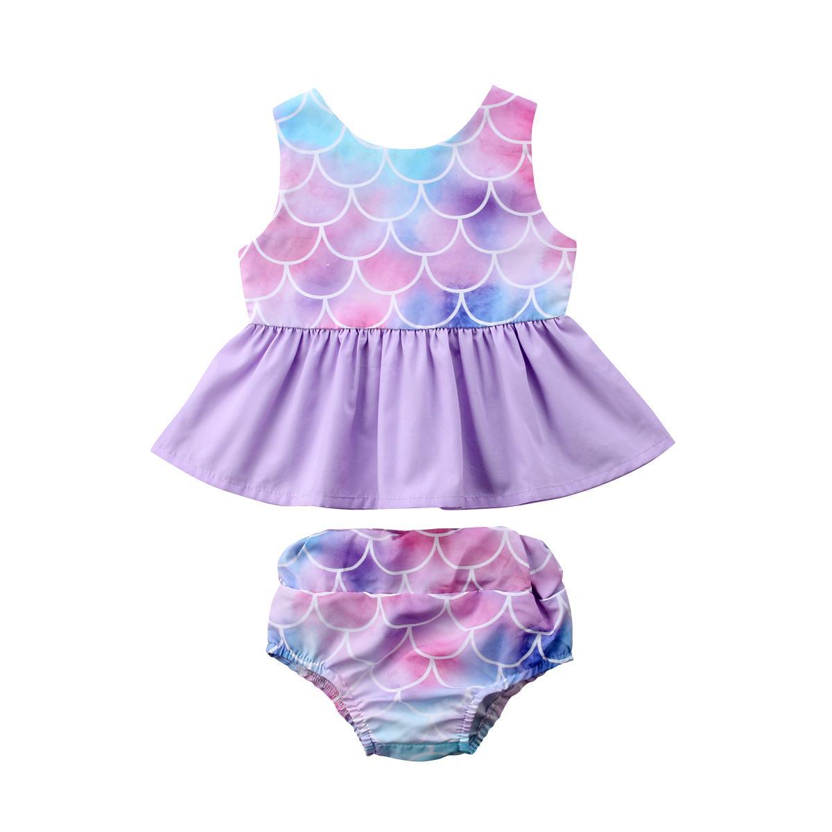 d4700005b2f0 2019 Pudcoco Fashion Kid Baby Girls Mermaid Clothes Set Ruffles Vest ...