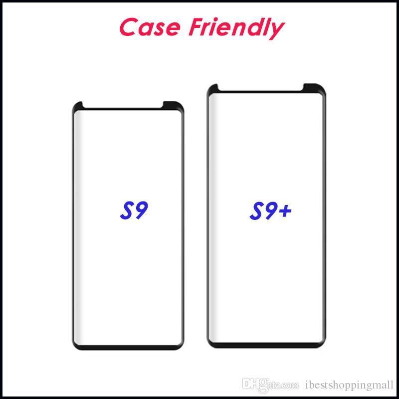 Caso amigável 3D protetor de tela Curvo vidro moderado para o Samsung Nota 10 9 8 borda S6 S7 S8 S9 Além disso superfície completa Film tampa com pacote