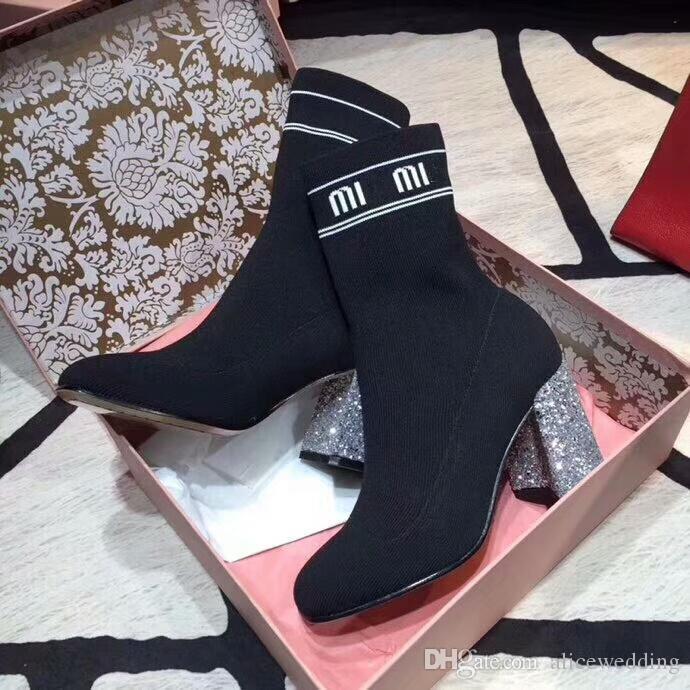 62bff7bee Compre Diseñador De La Marca Zapatos De Mujer Bling Bling Diseñador De Mujer  Zapatos De Tacón Superstar Tacones Botas Mujer Zapatos De Diseñador  Calcetines ...