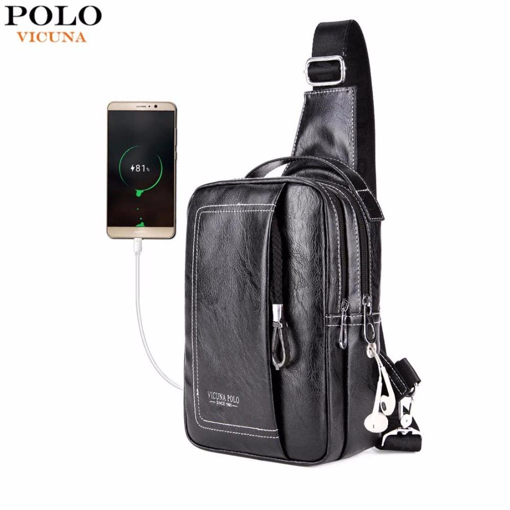 cb08be2cd20c VICUNA POLO Double Pocket USB Charging PU Leather Men Messenger Bag With  Headphone Outlet Shoulder Bag Casual Chest Sling Bags Mens Leather Bags  Italian ...