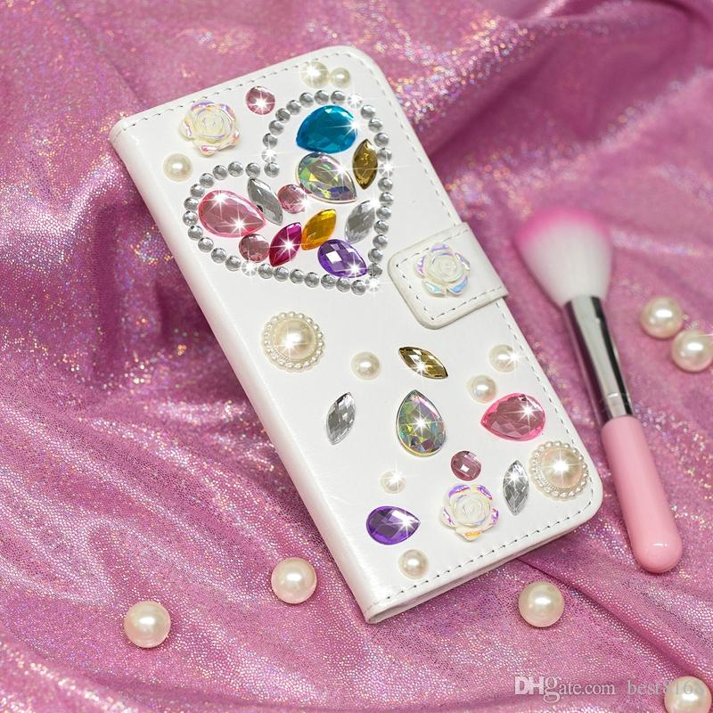 Custodia a portafoglio in rilievo di lusso 3D perla Iphone X 8 7 Plus 6 6S 5 SE Custodia a fiore in pelle di Huawei P20 Mate 10 Lite fiore farfalla Coque Bling