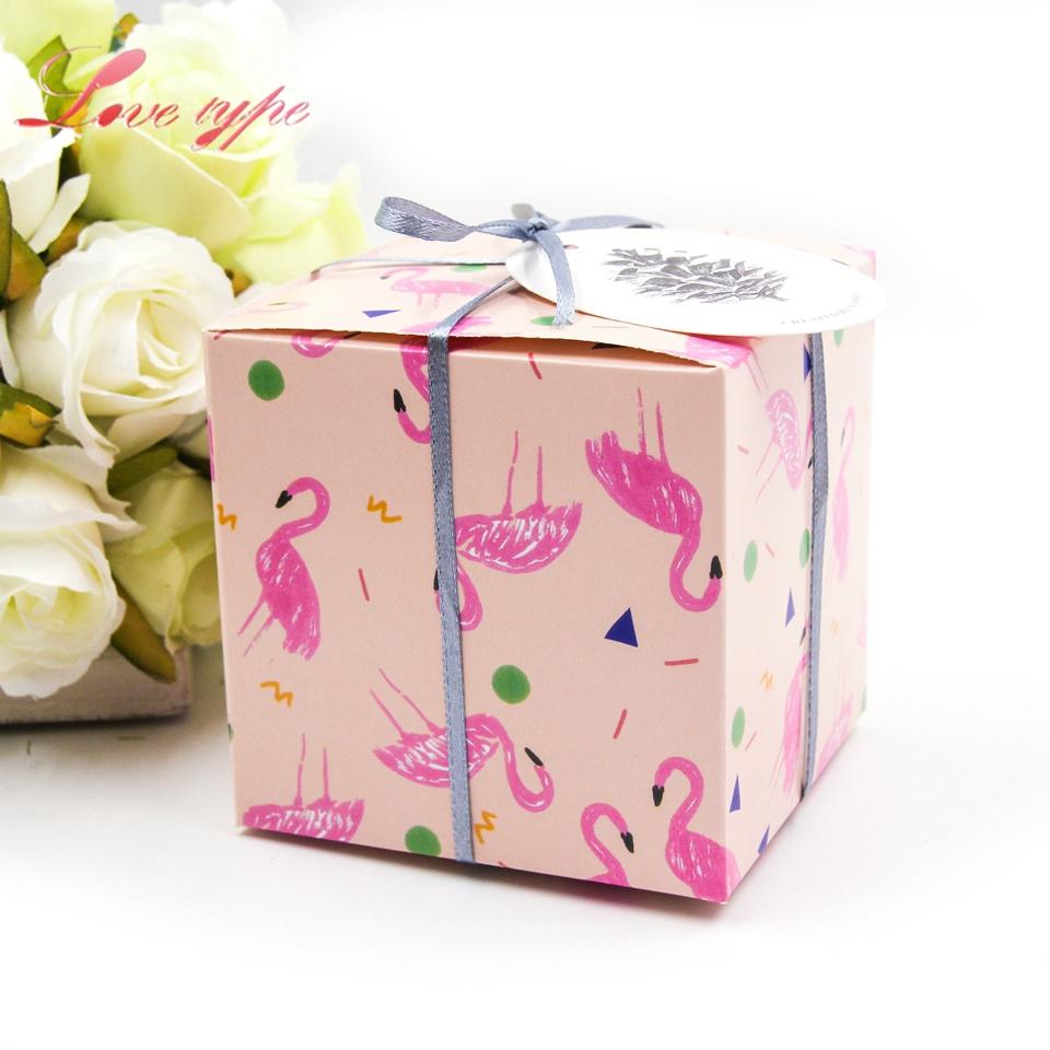 Event Party Gift Boxes Bags Flamingo Gift Box Cute Square Candy ...