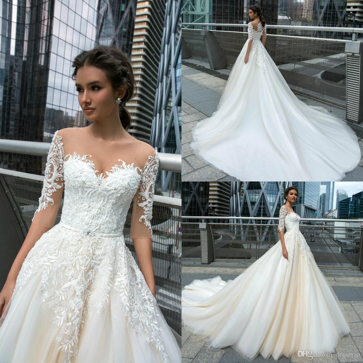 Design A Wedding Dress.2019 Crystal Design Beach Wedding Dresses Jewel Neck A Line Half Long Sleeve Lace Bridal Gowns Appliques Beaded Country Wedding Dress
