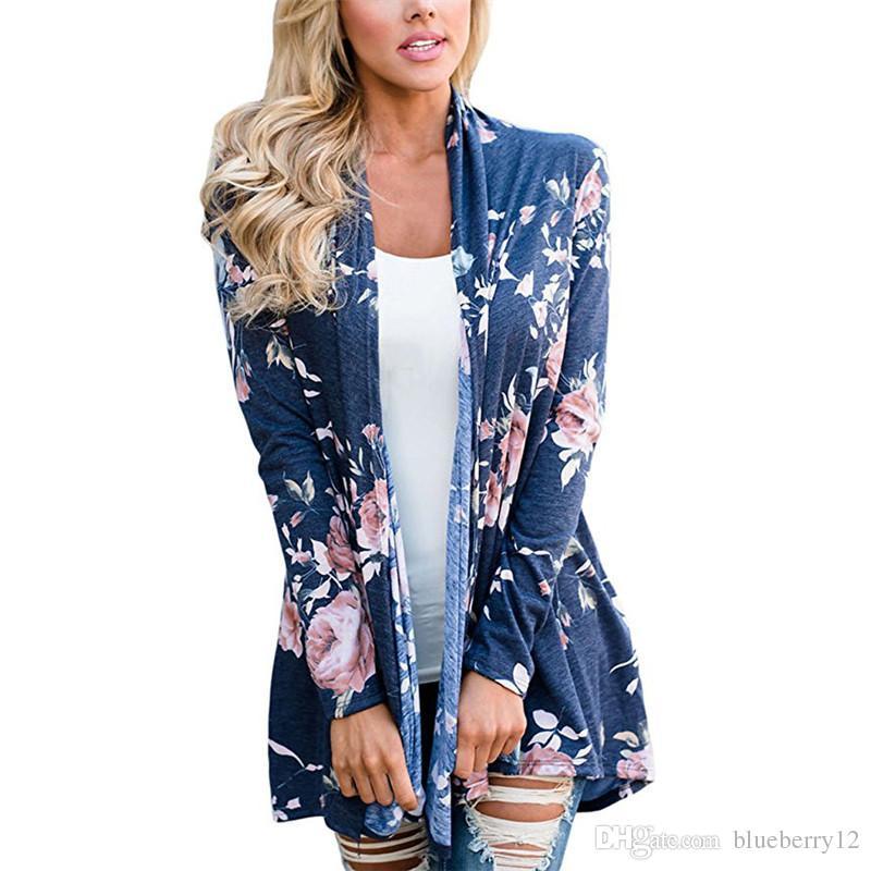 봄 꽃 여성 카디 건 옷깃 넥 패션 꽃 인쇄 탑 캐주얼 긴 소매 판매를위한 얇은 탑 의류