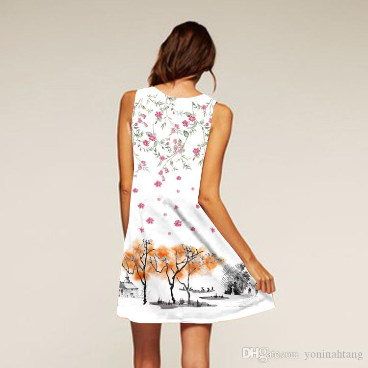 Wholesale Summer Women Latest Design 3D Transfer Printed Loose Casual Sleeveless Plus Size Beautiful Dress