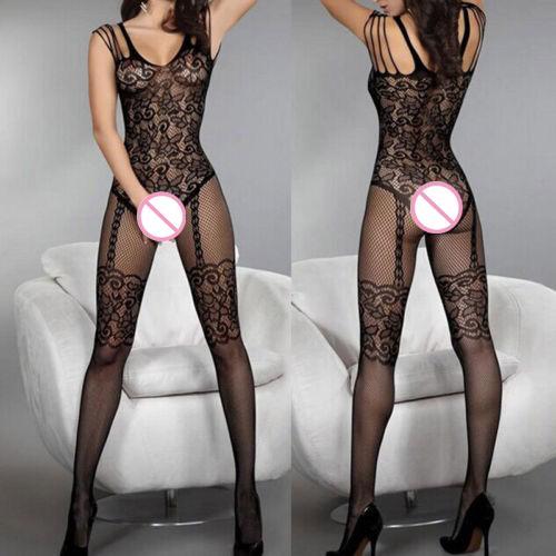Lingerie Sexy Mulheres Crotchless Meias Arrastão Sheer Body Dress Calças justas Nightwear Rendas Meninas Lotação