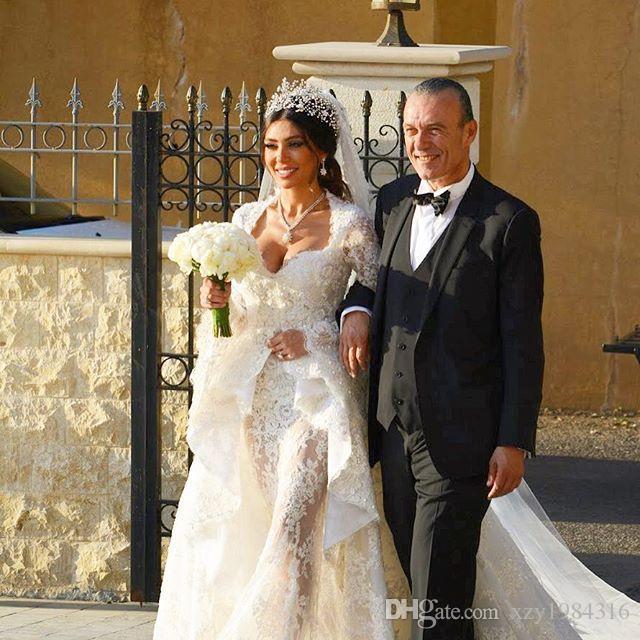 Aperti sexy Abito da sposa con perline overskirt Appliques del merletto a maniche lunghe Dubai abito da sposa Glamorous sirena di Tulle Wedding Dresse