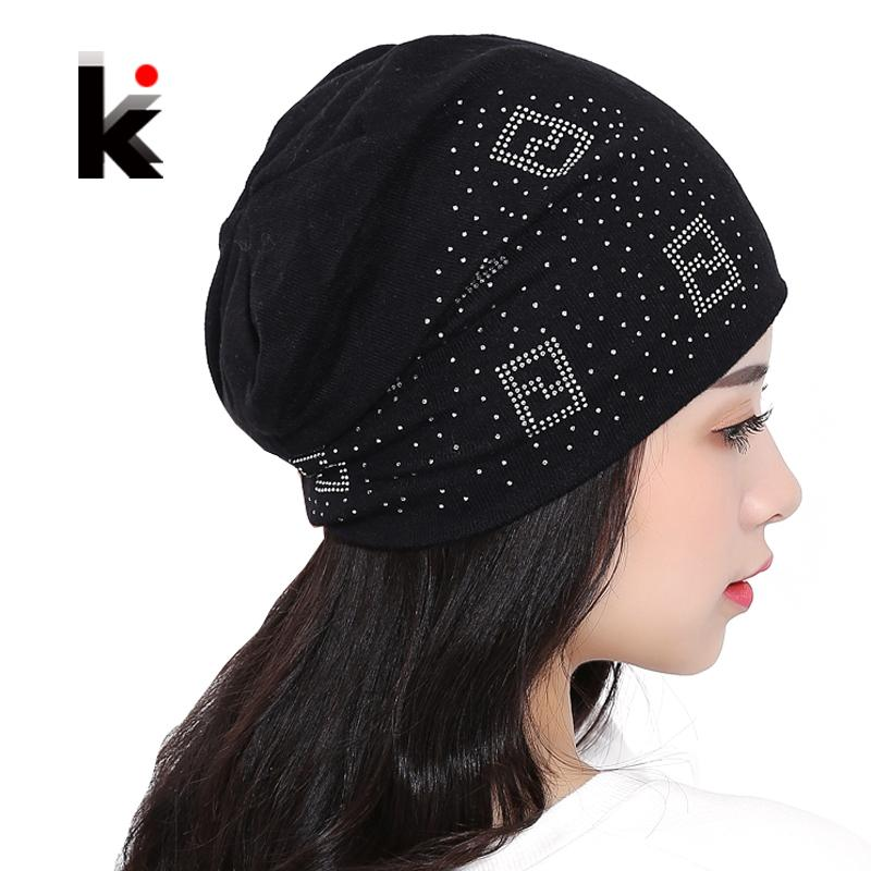 ee367ab4c4209 2018 Beanie Hats For Women Beanies Autumn And Winter Brand Knitted Hat  Turban Diamond Skullies Hip Hop Caps Stocking Ladies Lnit S1020 Custom  Beanies ...