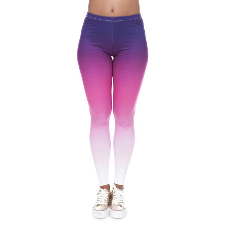 7074994bcdf25 2019 Women Leggings Purple Pink White Ombre Graphic Print Lady Skinny  Stretchy Yoga Wear Pants Gym Fitness Pencil Fit Girl Soft Trousers J40577  From ...