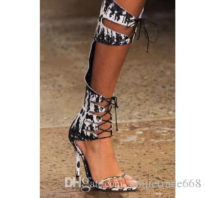 Nueva lista de alta calidad Correas de color botas de punta abierta geniales realmente imagen cuero genuino Pima T zapatos de encaje de lana