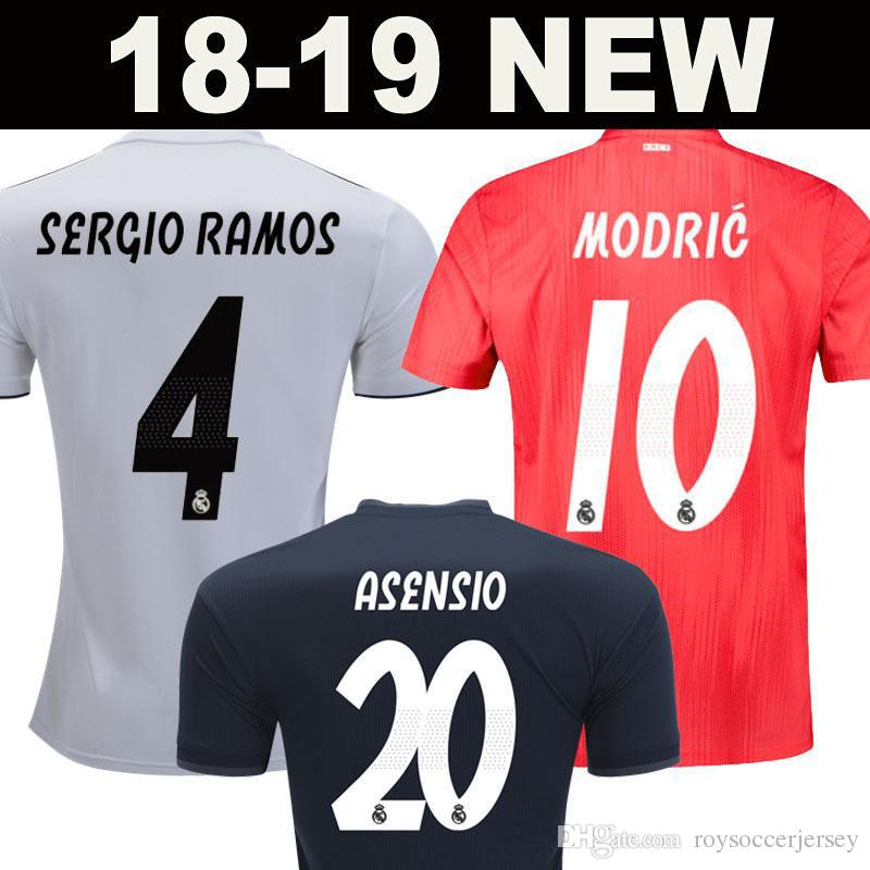2019 AAA+ Real Madrid White Soccer Jersey 18 19 Real Madrid Away Soccer  Shirt 2019 MODRIC BENZEMA KROOS ISCO ASENSIO BALE Third Red Football Kit  From ... 62c6a6034