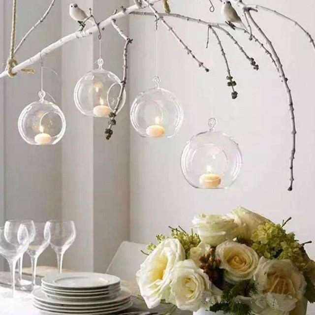 10Pcs Hanging Tealight Holder Glass Globes Terrarium Wedding Candle Holder Candlestick Vase Home Hotel Bar Decoration Flower Plants