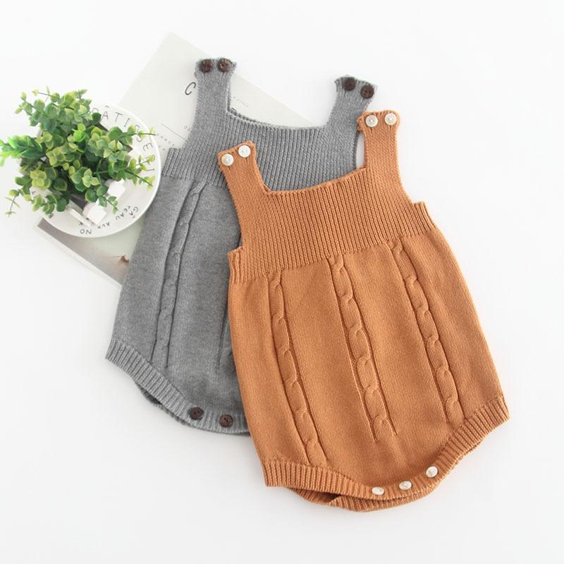 grossiste c8e1f c219e Body bébé fille pull en laine pour hiver 3M à 24M gilet sans manches doux  tricoté infantile Jumpsuit pour garçon et fille
