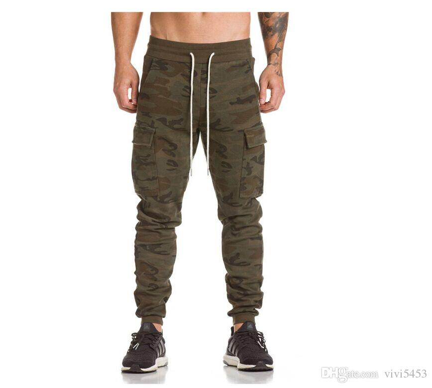 855b398399498 Men's sports casual trousers side pocket camouflage pants fitness  sweatpants training slim calf pantsMulti-pocket Pants Sweatpants M-XXXL (E