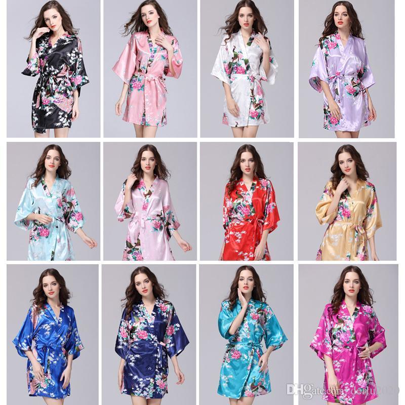 9cfea6114 Compre Roupas De Verão Das Mulheres Sexy Quimono De Seda Robe Pijama  Vestido De Camisola De Dormir Pijamas Quebrado Flor Kimono Lingerie Camisola  De ...