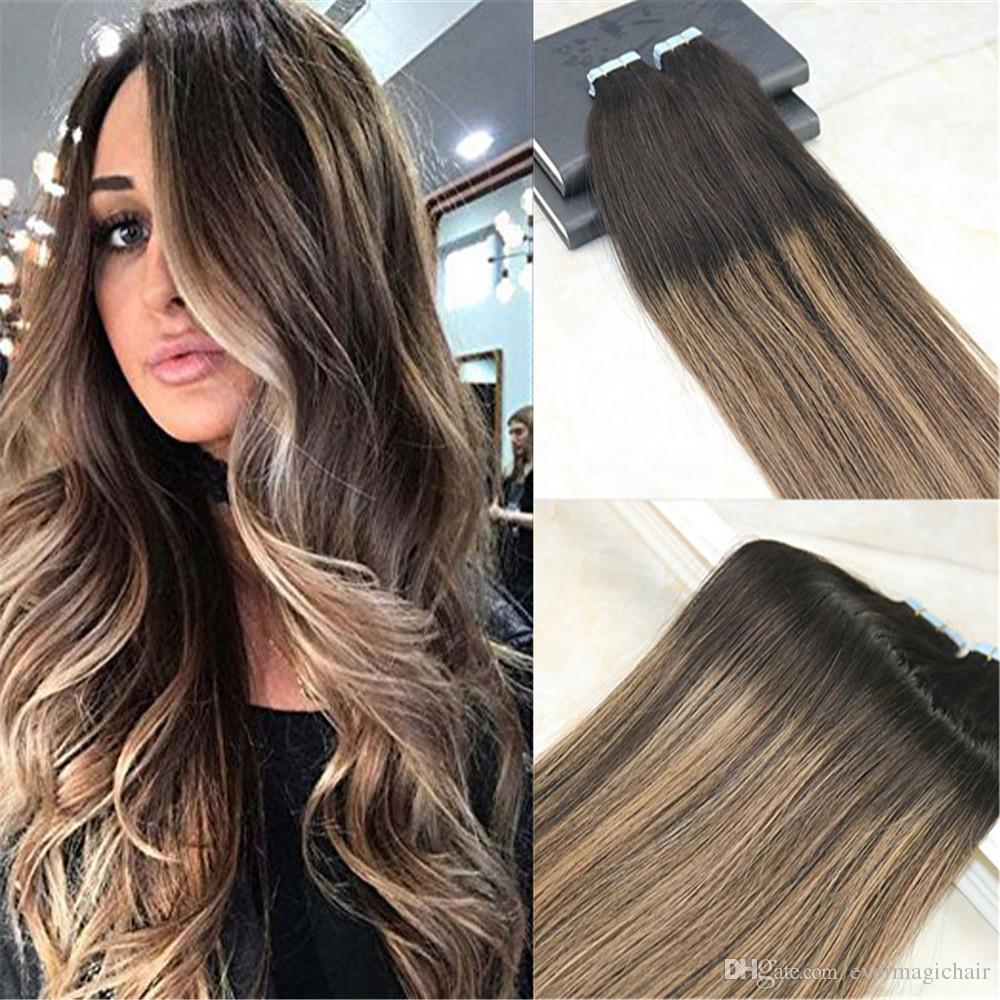 Remy Tape In Hair Extensions Human Hair Balayage Color Dark Brown