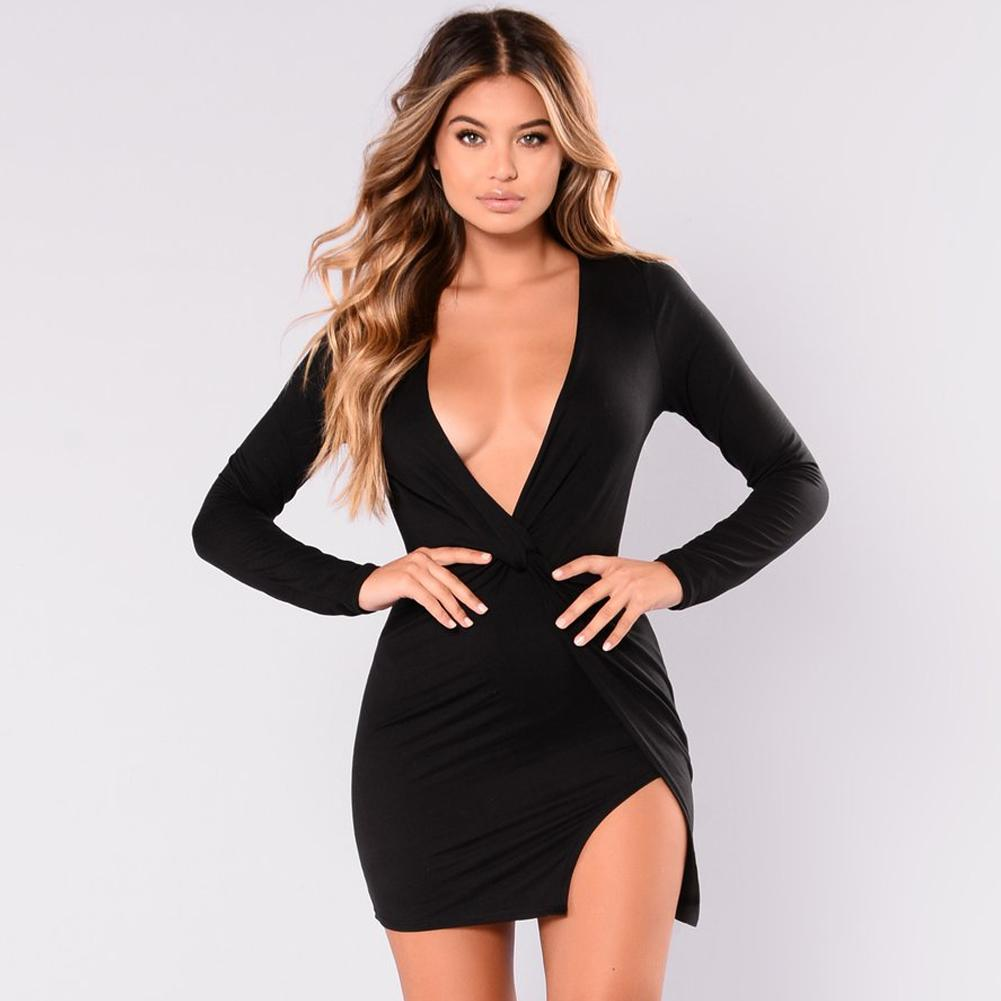 a6cd3add5eb 2019 New Sexy Women Deep V Neck Mini Dress Twist Knot Side Slit Wraparound  Style Pencil Dress Long Sleeve Party Clubwear Black Summer Flower Dresses  Cute ...