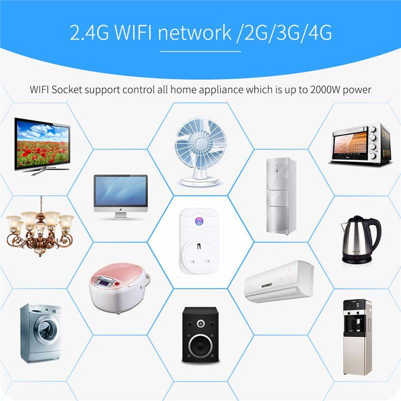 Inteligente Smart Home Power Wifi Adaptador de zócalo inteligente UE EE. UU. Reino Unido Interruptor de toma de corriente Inalámbrico Horario Horario Teléfono Control remoto