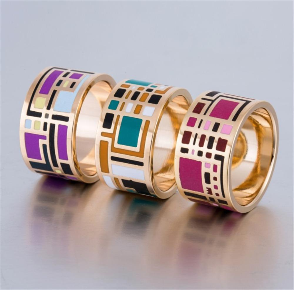 color plated arrival ring ethnic patterns in flower big jewelry rings for geometric accessories gift women new enamel mother item gold from