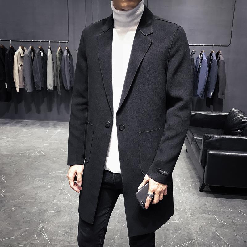 super popular 5e1b9 79e81 Cappotto overcoat da uomo nuovo arrivo in stile inglese semplice moda  invernale di lusso colletto rovesciato singolo misto lana misto caldo