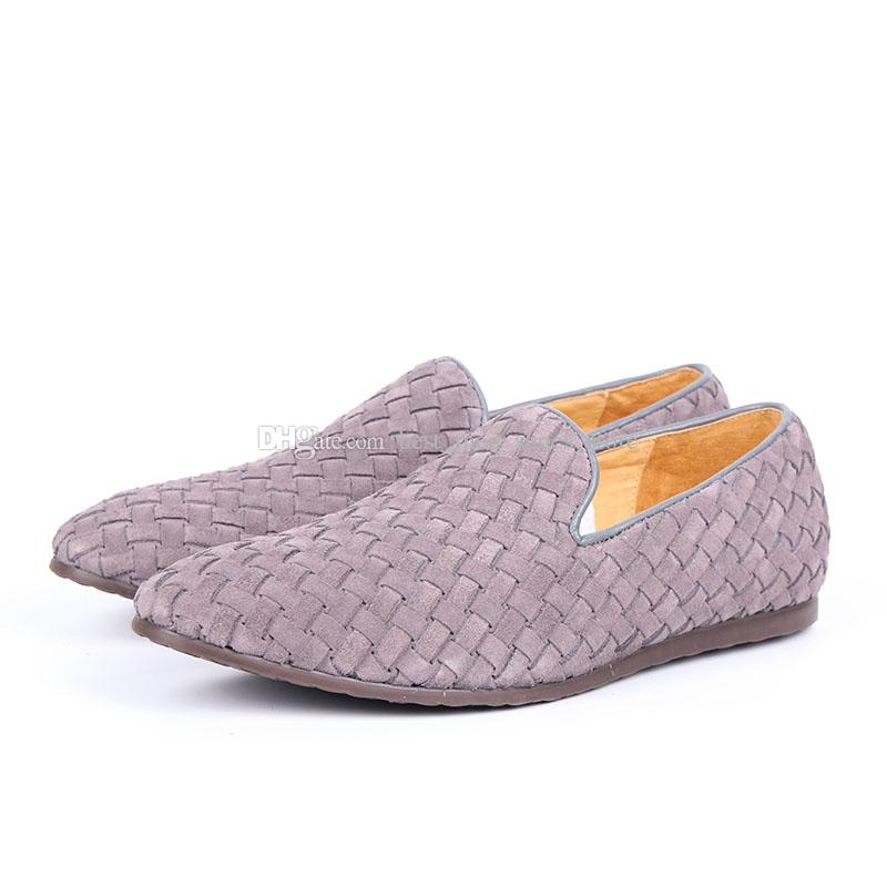 Mocassins de condução feitos à mão plaited Calcanhar liso Deslizamento em Peans respirável Shoe Dress Shoes