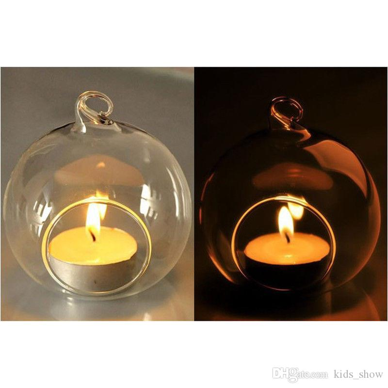 novelty romantic Crystal Glass Hanging Candle Holder translucent Candlestick holder Home Wedding Party Dinner Decor 6cm/8cm/10cm