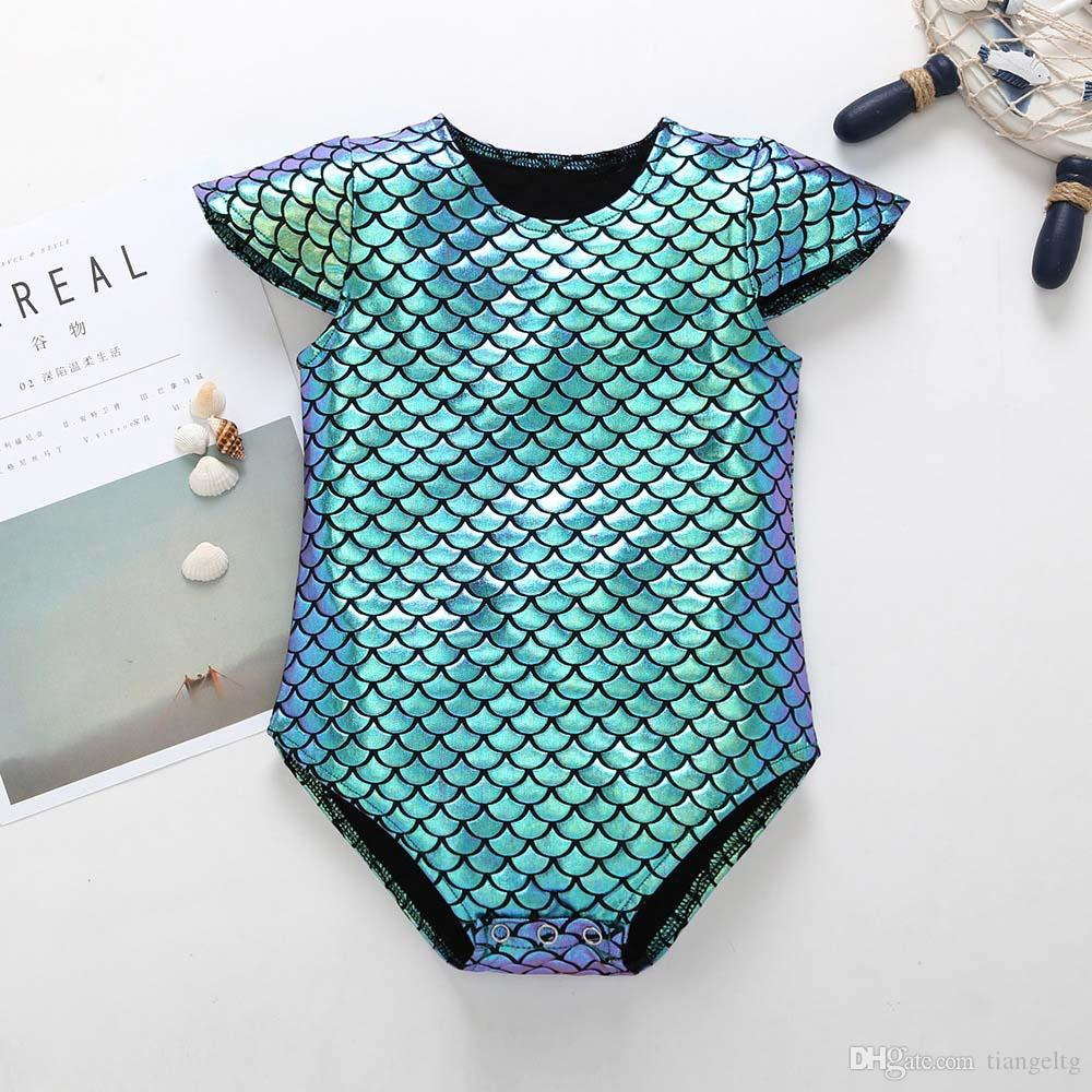 b047493852ed 2019 Girls Romper Dreamlike Scales Baby Girls Jumpsuit Short Sleeve  Triangle Romper Summer Breathable Cool Clothing 0 24M From Tiangeltg