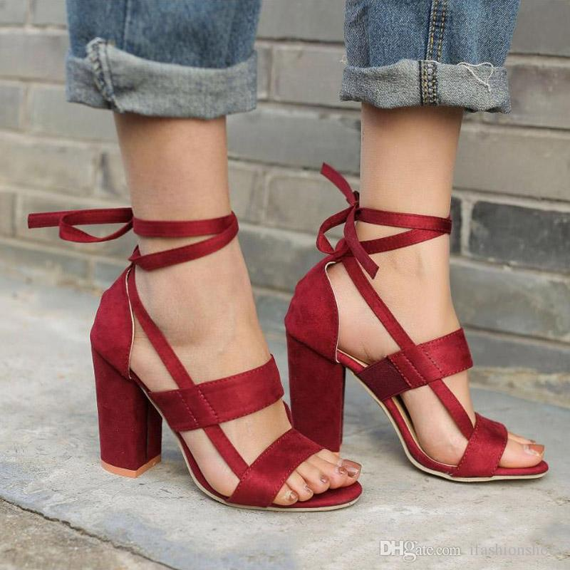 4c9a59e286 2.Please choose the size according to your foot length, if you are not  sure,please contact us. Women Strappy Sandals Suede Chunky High Heels ...