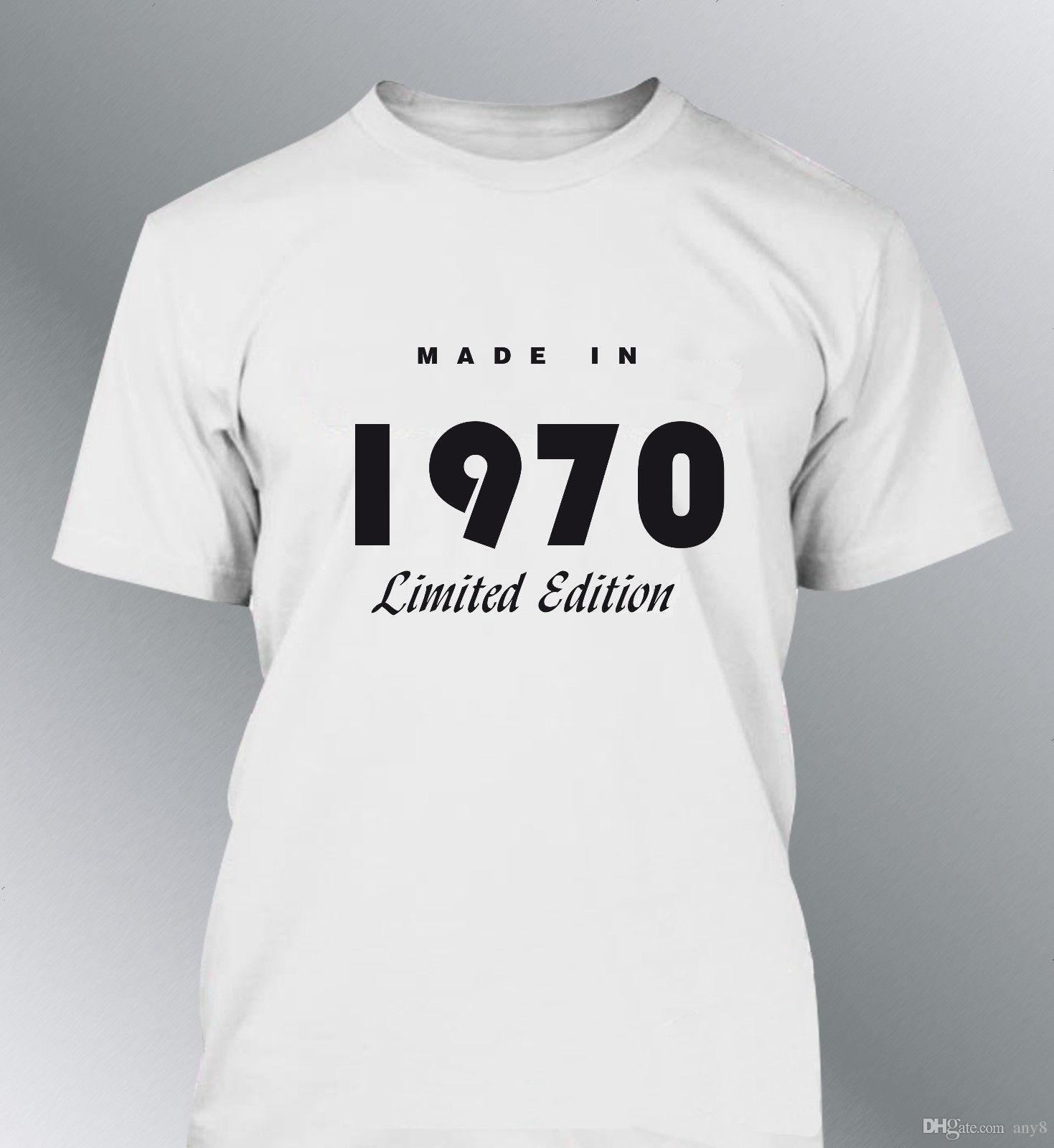8675acc96 Compre Camiseta Personalizada FABRICADO EN Años Sml XL Humor Hombre  Aniversario A  13.19 Del Any8